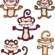Cheeky Monkeys — Stockvectorbeeld