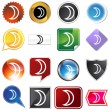 Moon Planetary Sign Icon Set — Stock Vector