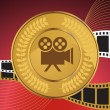 Movie Background: Camera Coin — Stock Vector