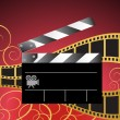 Stock Vector: Movie Background: Film Slate Reel
