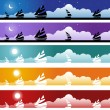 Stock Vector: sailboat banner set