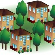 Stock Vector: Neighborhood Apartments