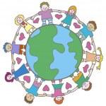 Globe with Surrounding Kids — Stock Vector