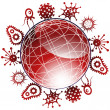 Global Viruses 3D - Stock Vector