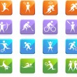 Athlete Icons - Stock Vector