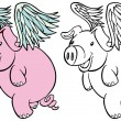Stock Vector: Flying Pig Set