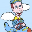Stock Vector: Airline Pilot in Tiny Plane