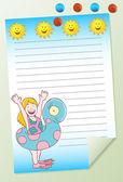 Girl Swimming Notepad — Stock Vector