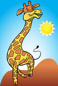 Giraffe with Desert Background — Stock Vector