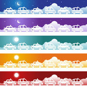 Taxi Cab Banner Set — Stock Vector