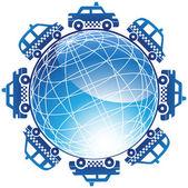 Taxi Cab Globe Icon — Stock Vector