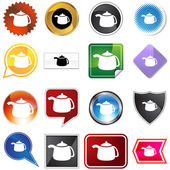 Teapot Variety Icon Set — Stock Vector
