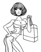 Serious Shopping Girl Line Art — Stock Vector