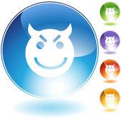 Evil Grin Emoticon — Stock Vector