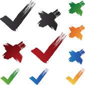 Pinceladas de marca de verificación — Vector de stock