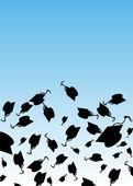 Graduation Hat Toss — Stock Vector