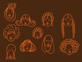 Girl Hairstyles — Stock Vector