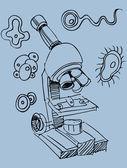 Microscope Doodle — Stock Vector