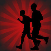 Father Son Runners — Stock Vector