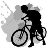 Teenager With Bike — Stock Vector