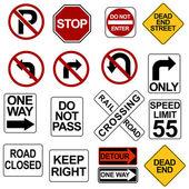 Conjunto de sinais de estrada — Vetorial Stock