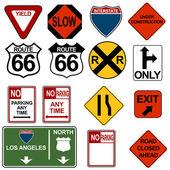Conjunto de sinalização de trânsito — Vetorial Stock