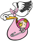 Stork Delivering Baby Girl — Stock Vector