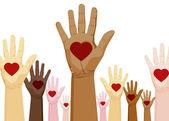 多样性的手 — 图库矢量图片