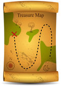 Gold Treasure Map — Stock Vector