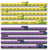 Purple Timeline Chart Set — Stock Vector