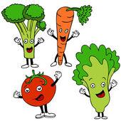 Food Cartoon Characters — Stock Vector