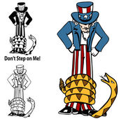 Tea Party Rattlesnake Uncle Sam — Stock Vector