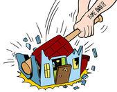 Homeowner Destroying House — Stock Vector
