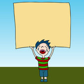 Crying Kid Holding Sign — Stock Vector