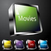 Entertainment Buttons — Stock Vector