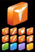 3d boutons médicaux carré glacé — Vecteur