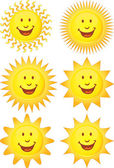 Set of Happy Suns — Stock Vector