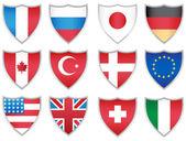 Flag Shields — Stock Vector