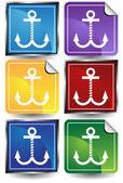 Anchors - 6 Sticker — Stock Vector