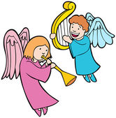 Angels Playing Instruments — Stock Vector