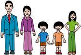 Moderne aziatische familie — Stockvector