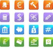 銀行のボタン - 正方形 — ストックベクタ
