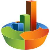 Process Bar Graph - 3D — Stock Vector