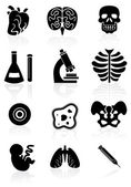 Biology Icon Set - Black — Stock Vector