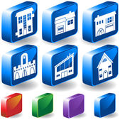 Set of 3D Home/Building Icons — Stock Vector