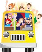 Chauffeur de bus et de coureurs sur bus — Vecteur