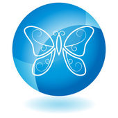 Blue Icon - Butterfly — Stockvector
