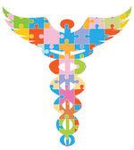 Caduceus lékařské symbol - puzzle — Stock vektor