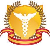 Caduceus Medical Symbol - Gold with Ribbon — Stock Vector