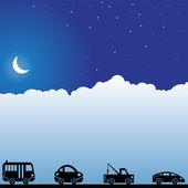 Night Sky Scene - Autos — Stock Vector